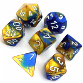 Blue & Gold Gemini Polyhedral 7 Dice Set